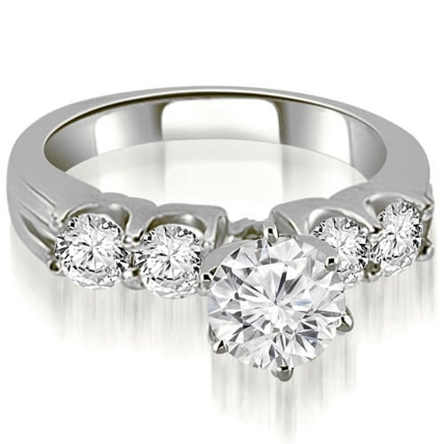 1.80 cttw. 14K White Gold Round Cut Diamond Engagement Ring