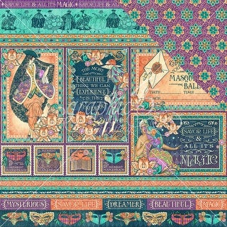 """Midnight Masquerade Double-Sided Cardstock 12""""X12""""-Savor The Magic"""
