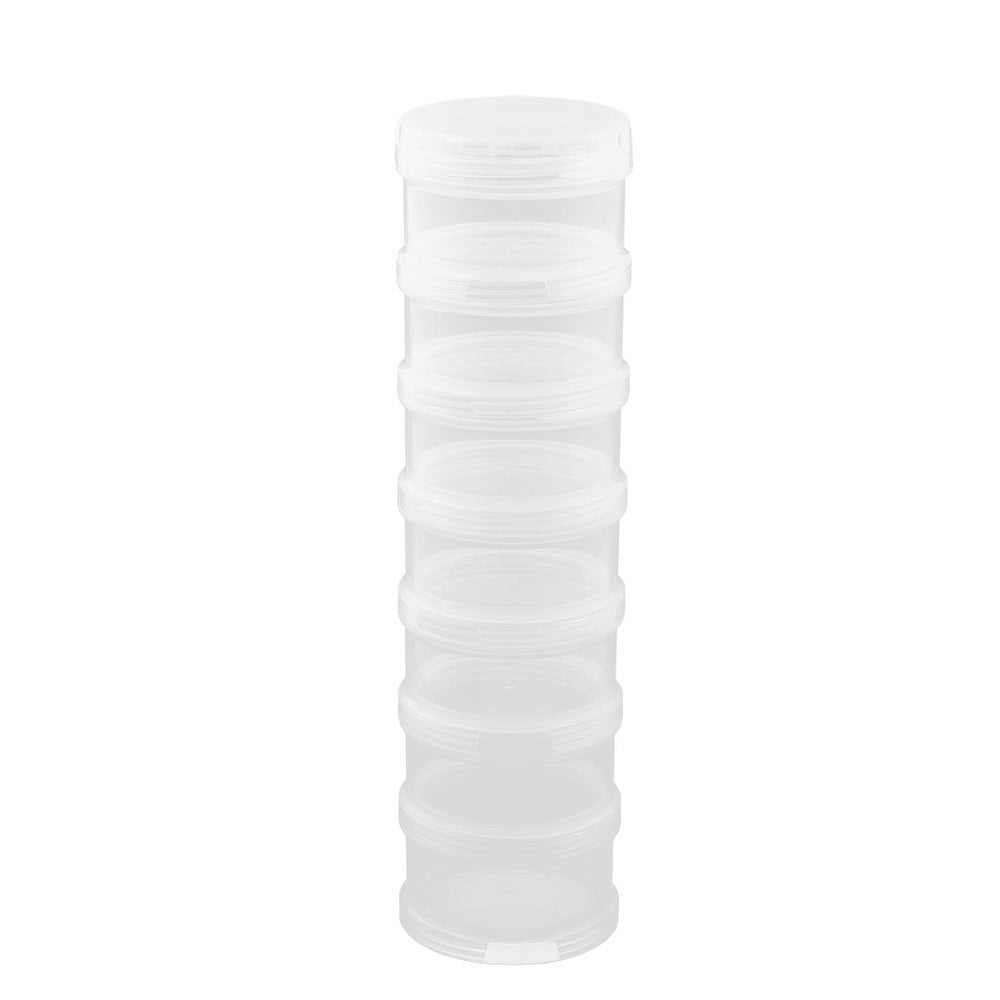 Family Cylindrical 7 Compartments Medicine Pill Organizer Dispenser Box Clear