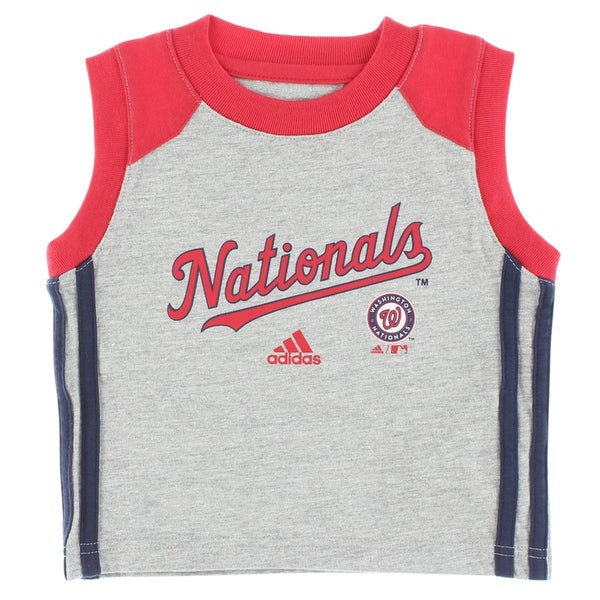 cheap for discount b2976 8d7a4 Shop Adidas Baby Boys Washington Nationals MLB Base Hit T Shirt Grey -  grey red navy blue - 12M - Free Shipping On Orders Over  45 - Overstock -  22693867