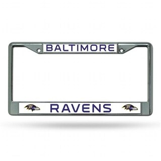 Rico Industries FC0705 Chrome License Plate Frame - Baltimore Ravens