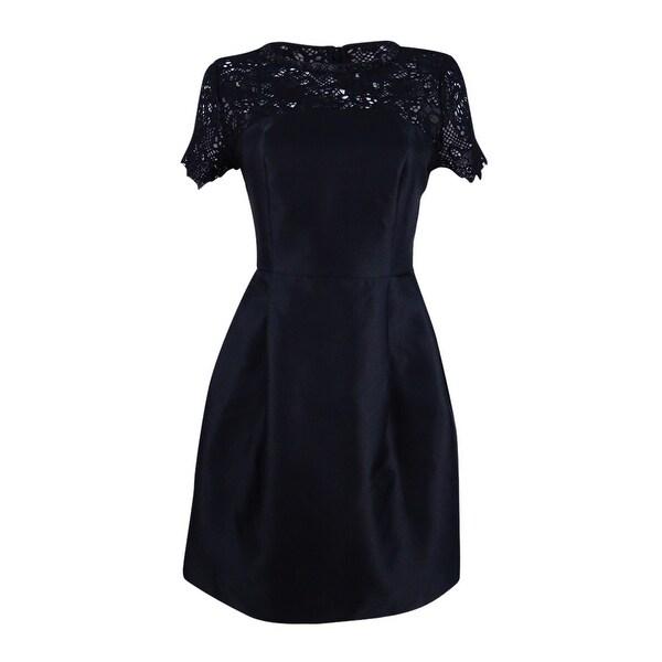 Jessica Simpson Women's Embellished Lace-Yoke Fit & Flare Dress - Black