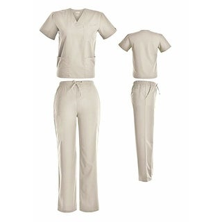 Unisex V-Neck Scrub Set DSF Medical Uniform Women Men Top and Pants 1826
