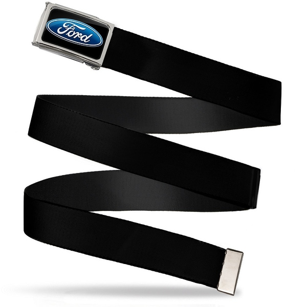 Ford Oval Logo Fcg Black Blue Chrome Black Webbing Web Belt