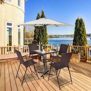 Costway 5PC Rattan Patio Furniture Set 4 Bar Stool Folding Chair + Bar Table W/Glass Top