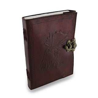 Fates Fairy Embossed Leather Journal 240 Unlined Pages 6 X 8 In. - Brown
