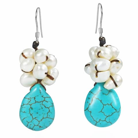 Handmade Teardrop Turquoise Pearl Sterling Silver Dangle Earrings (Thailand)