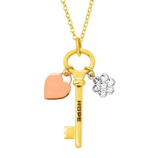 Crystal Flower & Heart 'Hope' Key Charm Pendant in 18K Two-Tone Gold & Silver-Plated Brass - White