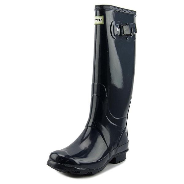 Hunter Field Huntress Gloss Women Round Toe Synthetic Blue Rain Boot