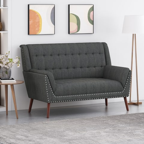 Braymer Mid-Century Modern High Back Fabric Settee with Nailhead Trim by Christopher Knight Home