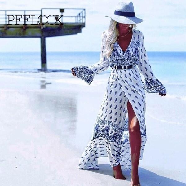 63c68c57ec0d3 Shop Pfflook 2018 Summer Women Retro Printed Dress Beachwear Beach ...