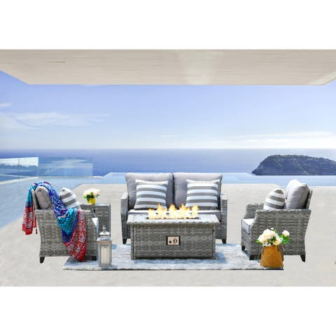 5 Pieces Wicker Sofa Set with Gas Fire Pit Table by Moda Furnishings