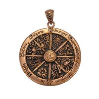 Copper Wheel of the Year Pendant Pagan Wicca