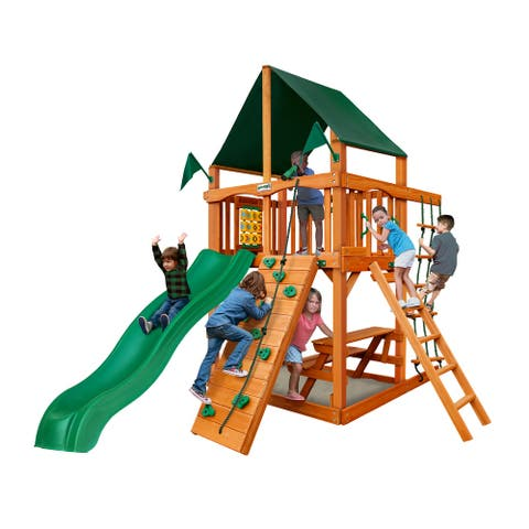 Gorilla Playsets Chateau Tower Wood Playset with Sunbrella Canvas Canopy, Rock Wall, and Built-In Sandbox Area