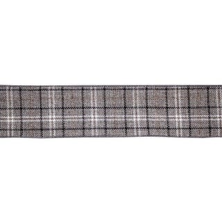 "Pack of 4 Graphite Gray and White Checkered Pattern Wired Craft Ribbon Decors 2.5"" x 10 Yards"