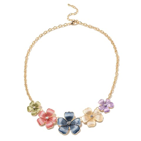 Goldtone White Austrian Crystal Elegant Necklace Size 20 Inches - Size 20''