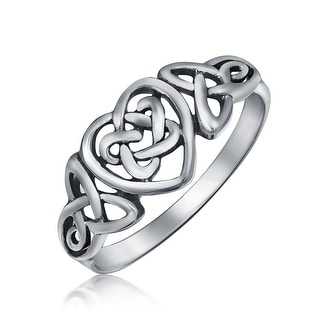 Irish Love Knots Infinity Heart Celtic Ring Sterling Silver 1MM Band
