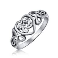 Sterling Silver Irish Celtic Knots Heart Promise Ring