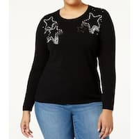 INC Black Women's Size 3X Plus Crewneck Star-Embellished Sweater