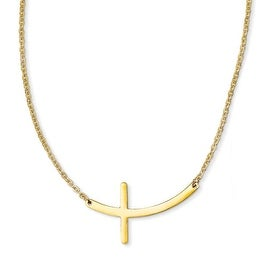 Chisel Stainless Steel Yellow IP-plated Sideways Cross 18in Necklace (2 mm) - 18 in