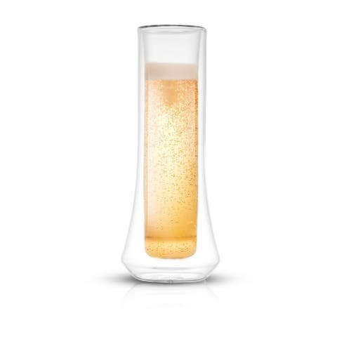 JoyJolt Cosmo Double Wall Stemless Champagne Flutes Glasses - 5 oz - Set of 4 - 5 oz