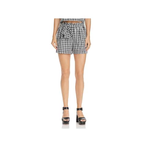 Joie Womens Cleantha High-Waist Shorts Gingham Paperbag
