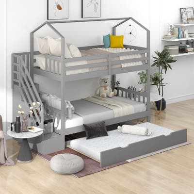 Nestfair Twin over Twin Bunk Bed with Staircase and Storage Space