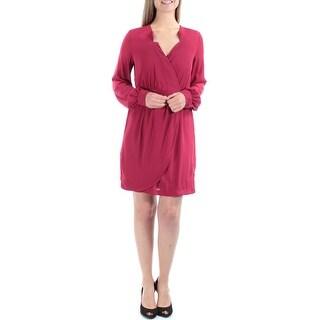 $90 XOXO New Womens 1507 Red V Neck Cuffed Faux Wrap Dress Juniors M B+B