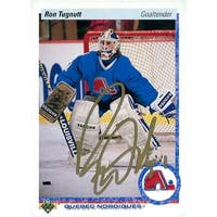 Signed Tugnutt Ron Quebec Nordiques 1990 Upper Deck Hockey Card autographed