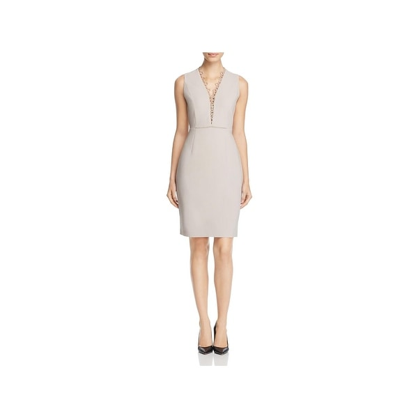 Elie Tahari Womens Saylah Cocktail Dress Embroidered V Neck