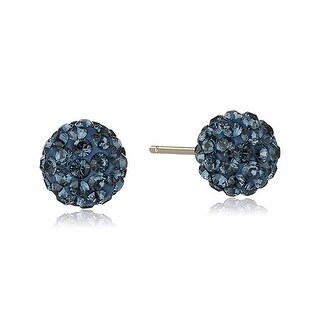 Crystaluxe Ball Stud Earrings with Navy Swarovski Crystals in 14K Gold - Blue