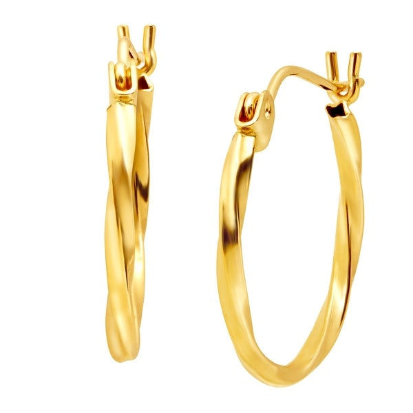 Just Gold Small Twisted Hoop Earrings in 14K Gold - YELLOW