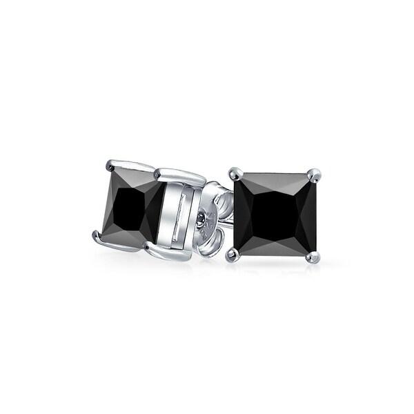 Bling Jewelry Uni Princess Cut Black Cz Stud Earrings 925 Sterling Silver 6mm