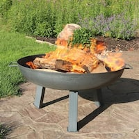 Sunnydaze Steel Colored Cast Iron Wood Burning Fire Pit Bowl - 30-Inch
