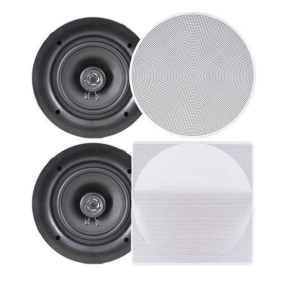 "5.25"" In-Wall / In-Ceiling Dual Stereo Speakers, 150 Watt, 2-Way, Flush Mount, White"