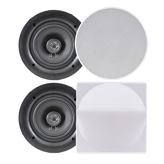8.0'' In-Wall / In-Ceiling Dual Stereo Speakers, 250 Watt, 2-Way, Flush Mount, White