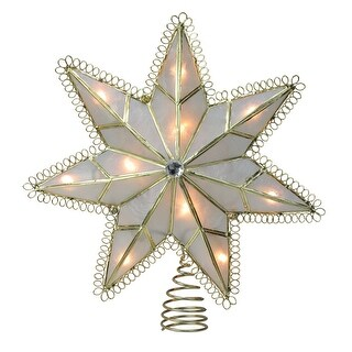 9.25 Lighted Capiz Gold Loop Christmas Tree Topper - Clear Lights