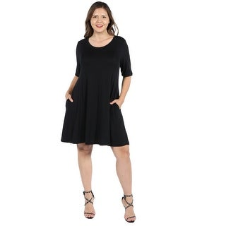 24Seven Comfort Apparel Pocket Plus Size Mini Dress