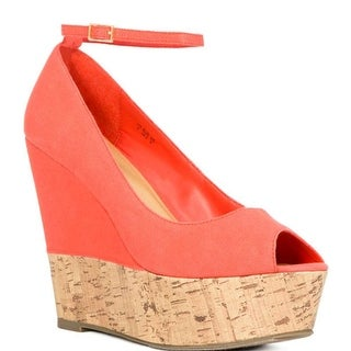 Just Fab Womens Kerry Canvas Peep Toe Ankle Strap Wedge Pumps