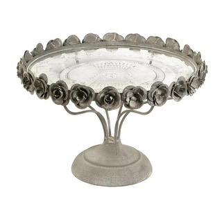 "9.25"" French Inspired Country Chic Rose Pedestal Metal & Glass Cake Plate"