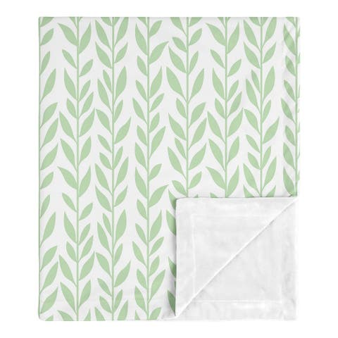 Floral Leaf Collection Girl Baby Receiving Security Swaddle Blanket - Green and White Boho Farmhouse