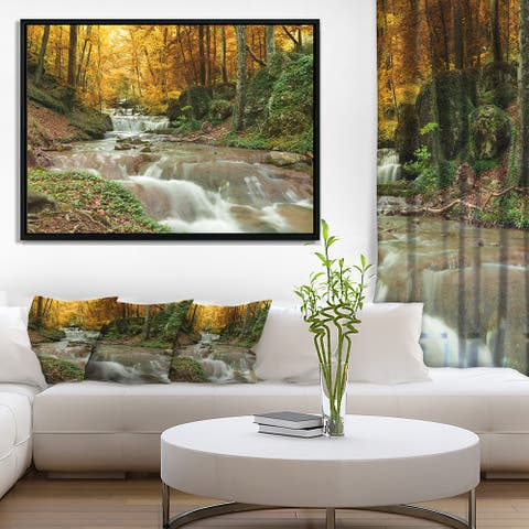 Designart 'Forest Waterfall with Yellow Trees' Large Landscape Framed Canvas Art Print