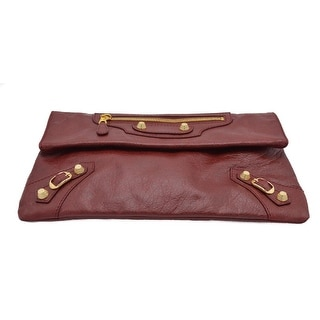 Balenciaga Burgundy Leather Arena Giant Clutch Cross Body Bag