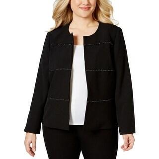 Kasper Womens Plus Open-Front Blazer Embellished Striped - 20W