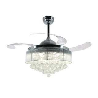 """42.5"""" Foldable Blades LED Ceiling Fan with Crystal, Chrome"""