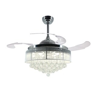 "42.5"" Foldable Blades LED Ceiling Fan with Crystal, Chrome"