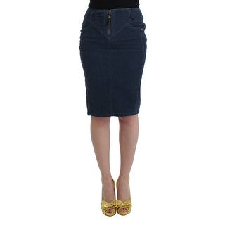 Cavalli Blue corduroy pencil skirt