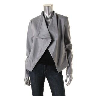 BB Dakota Womens Faux Leather Open Front Jacket
