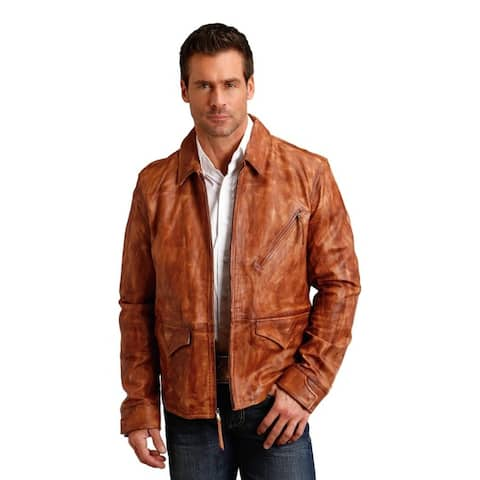 Stetson Western Jacket Mens Leather Zip Brown
