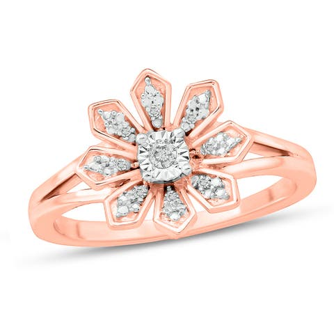 Cali Trove 1/20 CT Round Diamond Floral Fashion Ring In Sterling Silver Plated in 2 Micron Rose Gold.